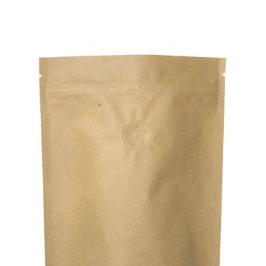 Крафт пакет Дой-пак с клапаном, замок Zip-Lock, кофейный 1 кг. (210*380 мм.) - 1