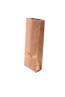 Крафт бурый пакет с Центральным швом и Окошком 1 кг. (135*360 мм.)