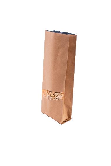 Крафт бурый пакет с Центральным швом, с Окошком 250 гр. (80*250 мм.) - 1