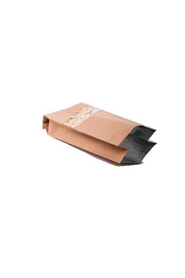 Крафт бурый пакет с Центральным швом, с Окошком 250 гр. (80*250 мм.) - 2